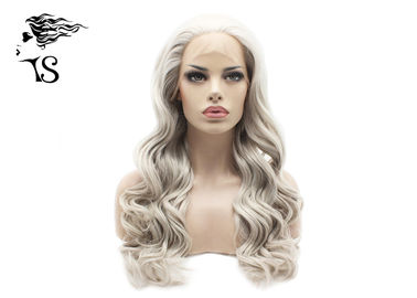Long Gray Synthetic Hair Curly Lace Front Wigs For Celebrity Looksalikes Wigs