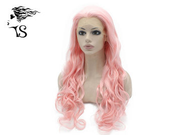 Long Pink Lace Front Wigs Synthetic Hair Deep Wave For Drag Queen Show Tangle Free