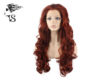 Fire Red Colorful Synthetic Lace Front Wigs , Long Wavy Lace Front Wigs 180% Density
