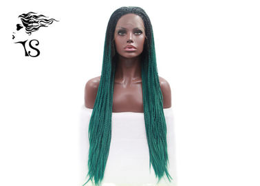 Green Color Fashion Synthetic Braided Lace Front Wigs For Black Women Extra Long