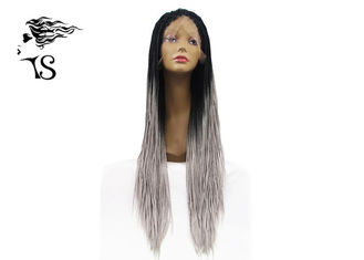 Long Gray Synthetic Box Braid Lace Front Wigs With Dark Roots For Afirica Girls