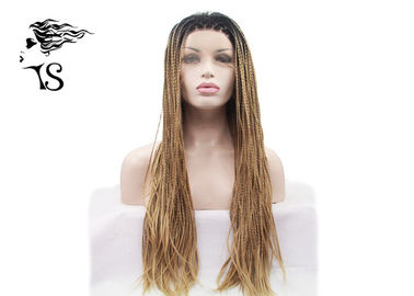 Blonde Box Braids Synthetic Braided Wigs with Dark Roots for African Americans