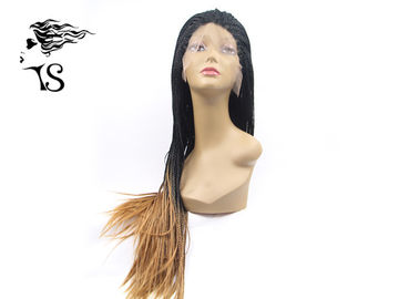 Ginger Blonde Ombre Box Braids Synthetic Lace Front Wigs For African American Women