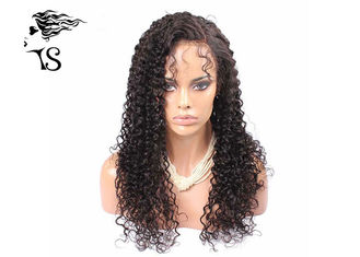 Kinky Curly Brazilian Virgin Human Hair Lace Front Wigs Shedding Free Natural Looking