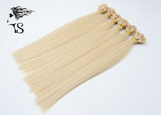 Golden Blonde Colored Human Hair Extensions , Straight U Tip Russian Hair Extensions