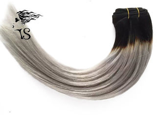 100% Non Remy Colored Human Hair Extensions With Gray Dark Roots 6A Grade