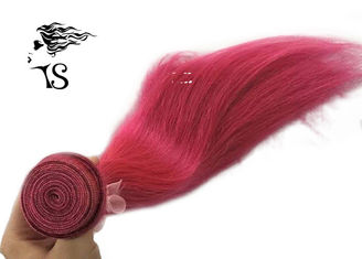 Red Straight Long Human Hair Extensions , No Smell Machine Weft Hair Extensions