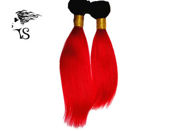 Red Mongolian Human Hair Extensions , Straight Colorful Ombre Hair Extensions