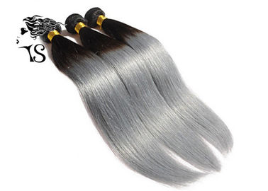 Silky Straight Black To Silver Ombre Hair Extensions 8A Chinese Human Hair Weave