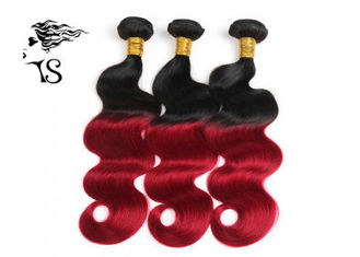 Body Wave 1B Red Ombre Human Hair Extensions , 8A Chinese Human Hair Weave