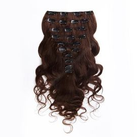 Dark Brown Clip In Colored Hair Extensions Body Wave Indian Virgin Hair 7A Grade