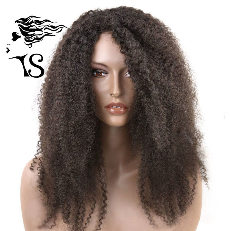 Natural Looking 1b Black Kinky Curly Hair Lace Front Wigs For Afro