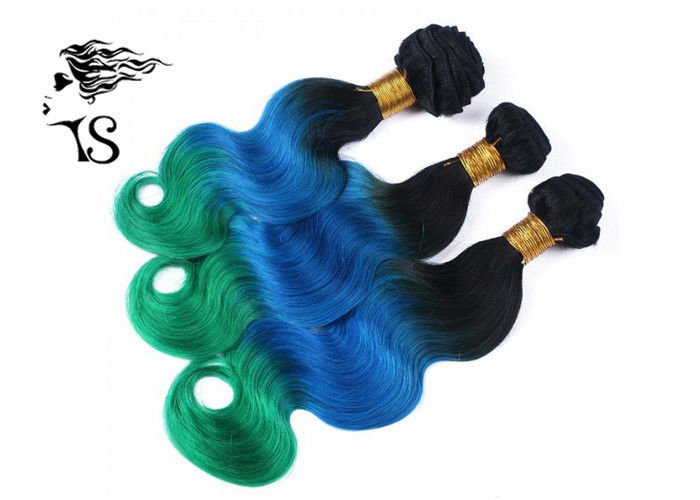 1b Blue Green 3 Color Ombre Human Hair Extensions 8a With