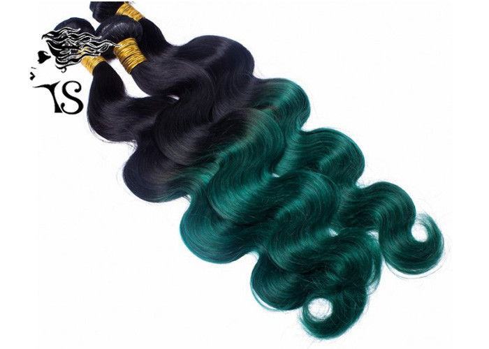 Culy Black To Green Ombre Human Hair Extensions With 100 Brazilian